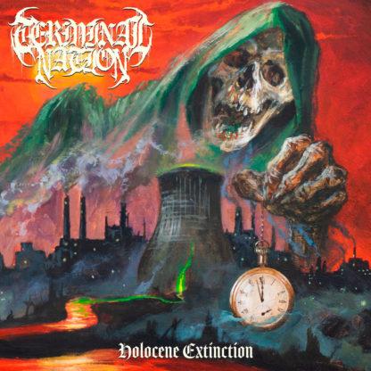 TERMINAL NATION Holocene Extinction - Vinyl LP (red, neon orange, bone tri-color merge with neon green, black splatter)
